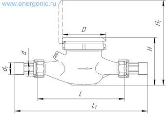 Чертеж счетчика воды ВКМ-15 ДГ